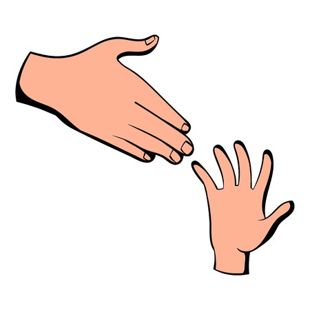 Helping hands icon, icon cartoon