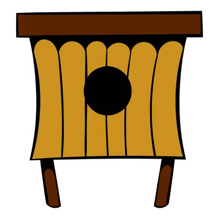 Wooden beehive icon, icon cartoon