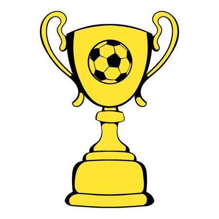 Golden soccer trophy cup icon, icon cartoon