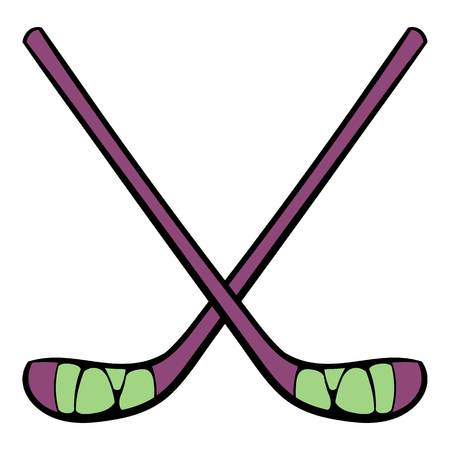 puck: Hockey sticks icon, icon cartoon Illustration