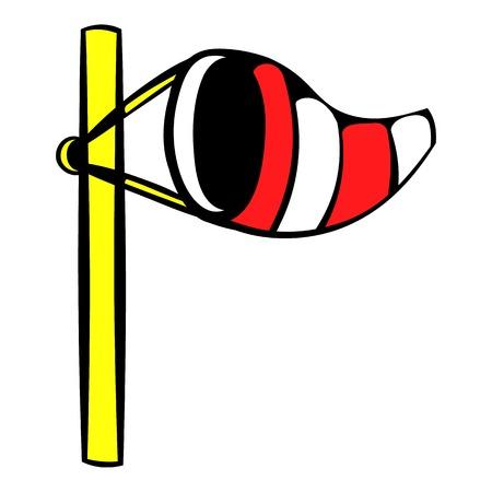 Windsock on golf course icon, icon cartoon