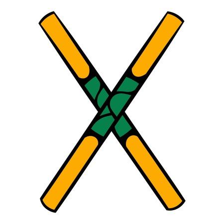 Wooden sword bokken  icon, icon cartoon