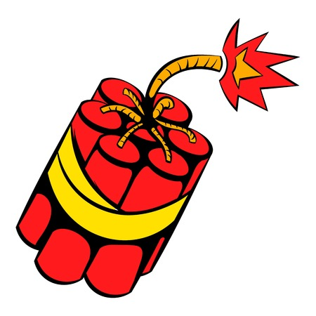 Red dynamite sticks icon, icon cartoon 向量圖像