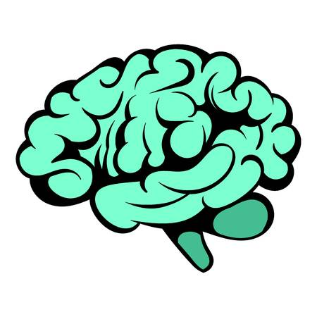 Human brain icon, icon cartoon Illustration