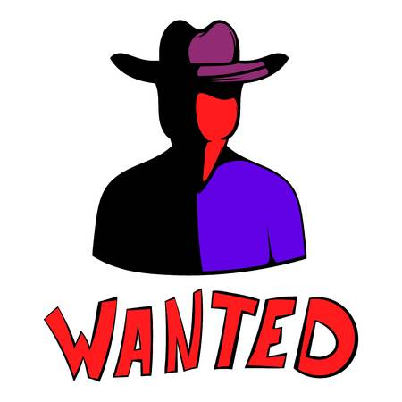 Vintage wanted poster icon, icon cartoon