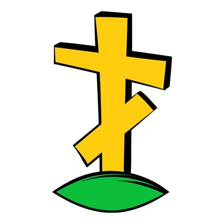 grave stone: Cross tombstone icon, icon cartoon