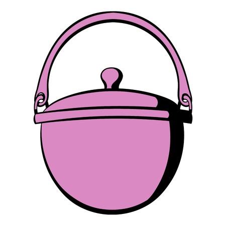 Traditional cooking cauldron icon, icon cartoon