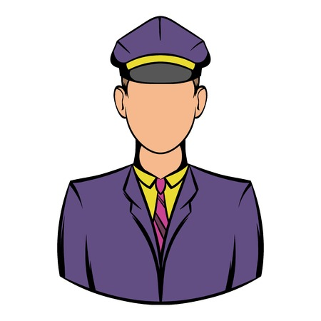 Railroader in uniform icon, icon cartoon