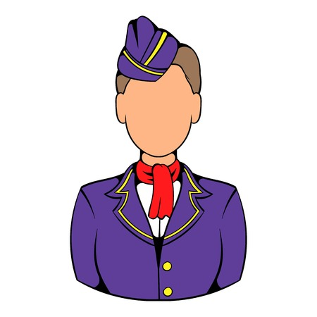 Stewardess icon in icon cartoon Illustration