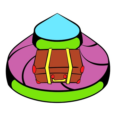 Baggage on conveyor belt at the airport icon Illustration