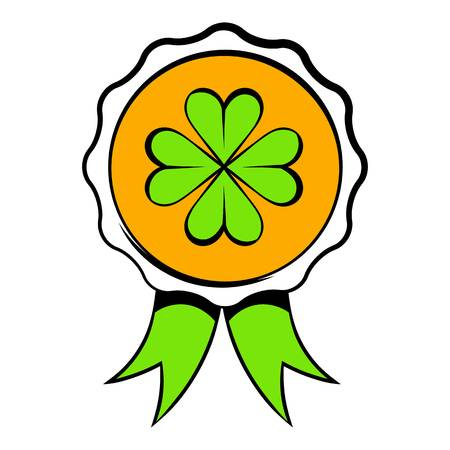 Four leaves clover badge icon, icon cartoon