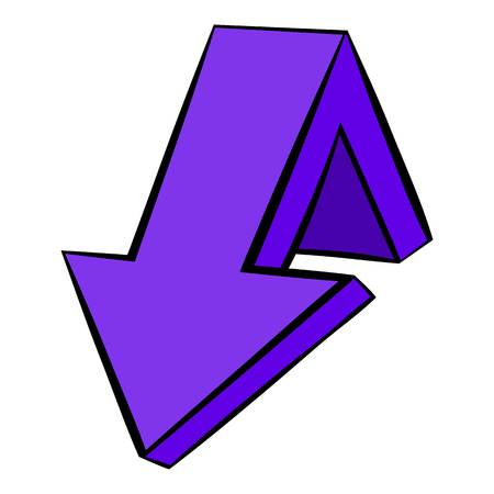 Violet down arrow icon, icon cartoon