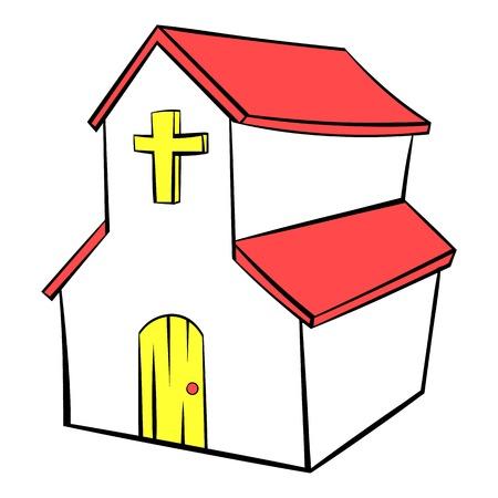 Church icon in icon cartoon Illustration