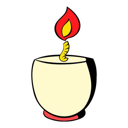 Candle in a candlestick icon, icon cartoon