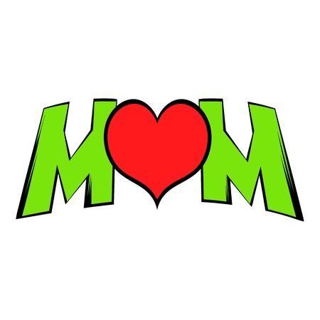 Lettering Mom and heart icon, icon cartoon