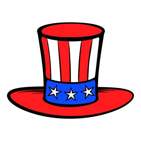 politicians: Cylinder in the USA flag colors icon cartoon.
