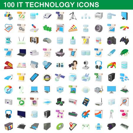 storage device: 100 it technology icons set, cartoon style