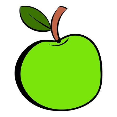 Green apple icon cartoon Illustration