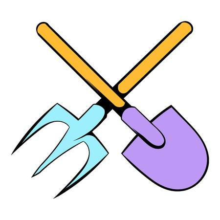 Shovel and pitchfork icon cartoon
