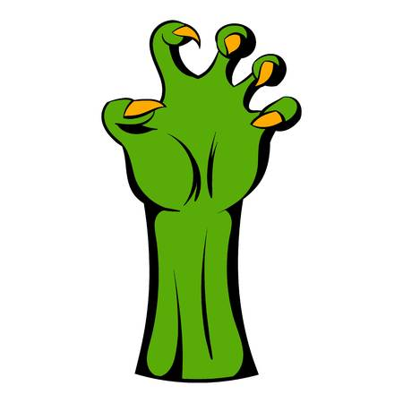 Witch green hand icon cartoon