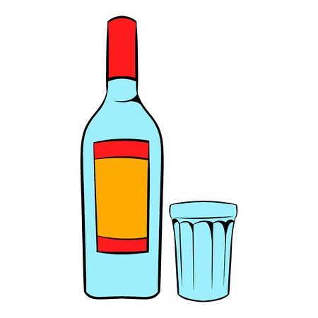 Bottle of vodka and glass icon cartoon