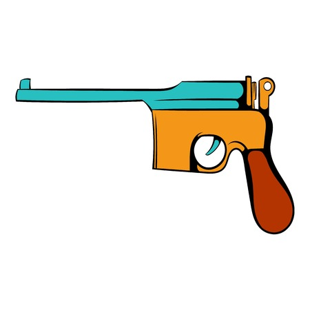 german handgun: German pistol icon cartoon