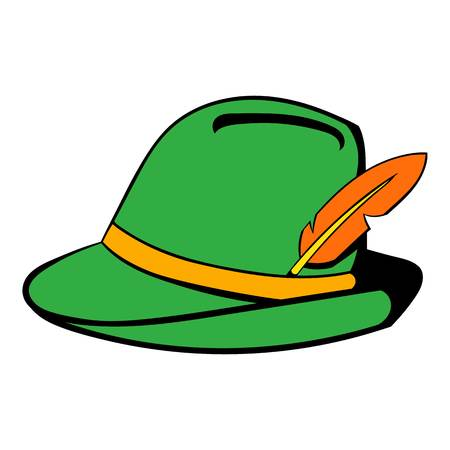 tirol: Green hat with feather icon cartoon