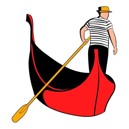 Gondola with gondolier icon cartoon