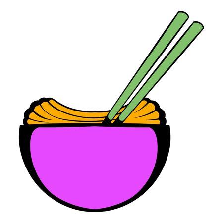 Bowl of rice with chopsticks icon cartoon