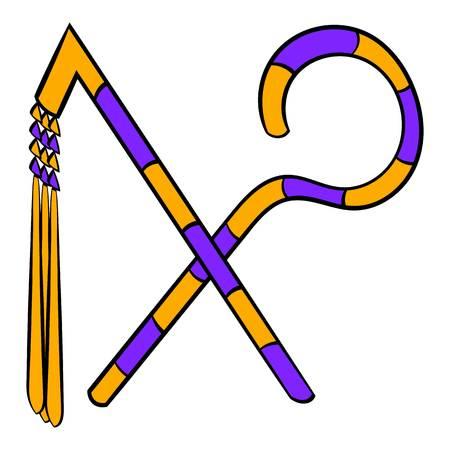 Rod and whip of Pharaoh icon cartoon Illustration