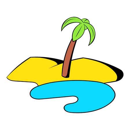 oasis: Oasis in the desert icon cartoon Illustration