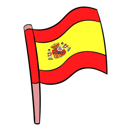 madrid spain: Flag of Spain icon cartoon