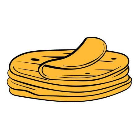 Stack of tortillas icon cartoon