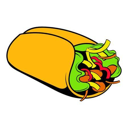 Wrap sandwich icon cartoon