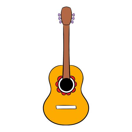 melodic: Acoustic guitar icon cartoon