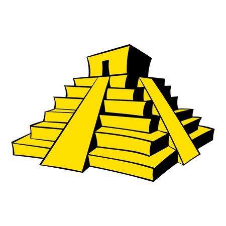Mayan pyramid icon cartoon Illustration