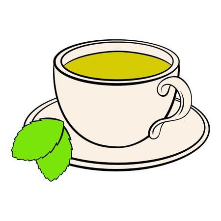 Cup of tea icon cartoon