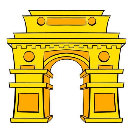 Gate, New Delhi, India icon cartoon