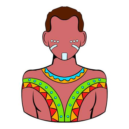Aborigen australiano icono de dibujos animados