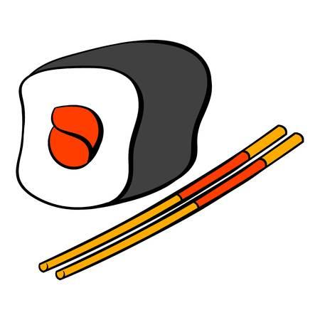japanese cuisine: Sushi roll icon cartoon Illustration