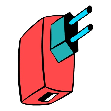 Electric power adapter icon cartoon