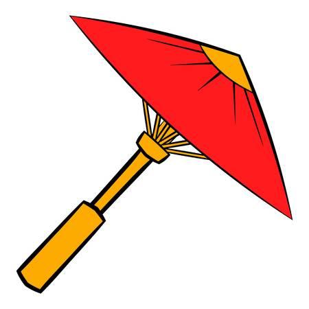 Asian red parasol or umbrella icon cartoon