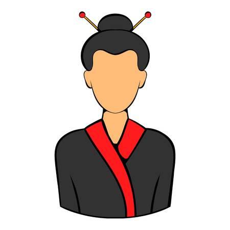 Geisha icon cartoon
