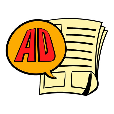 Newspaper with space for advertisement icon Illustration