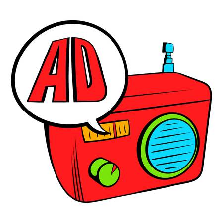 fm: Radio advertising icon cartoon