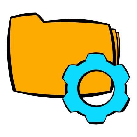 Folder with gear wheel icon cartoon