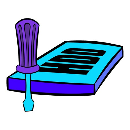 hard drive: Screwdriver and hdd icon cartoon