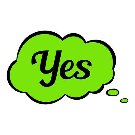 Yes in cloud icon cartoon