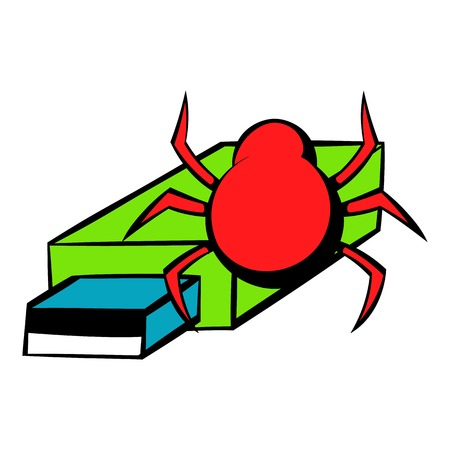Flash drive infected by virus icon cartoon