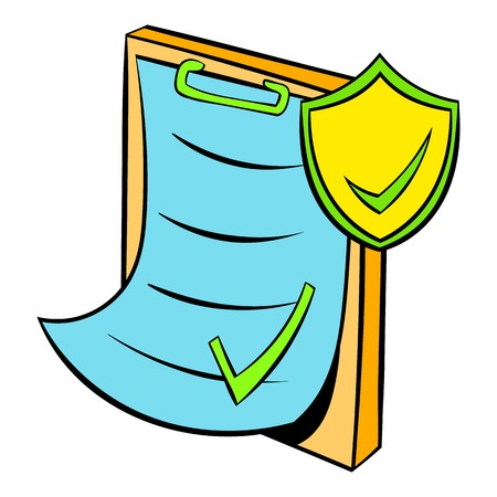 accordance: Clipboard with insurance form icon cartoon